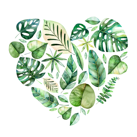 Beautiful template for card.Perfect Day.Handpainted Happy Valentines illustration with colorful tropical leaves. Tropical forest collection.Perfect for wedding, quotes, greeting card, logo, invitations