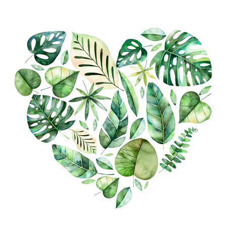 Mooie sjabloon voor card.Perfect Day.Handpainted Happy Valentines illustratie met kleurrijke tropische bladeren. Tropische bosinzameling. Perfectioneer voor huwelijk, citaten, groetkaart, embleem, uitnodigingen Stockfoto