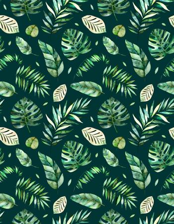 고품질 손으로 그린 수채화 열대 우림 잎 원활한 패턴. 열대 컬렉션., 귀하의 프로젝트에 완벽한 웨딩, 인사말 카드, 사진, 블로그, 벽지, 패턴, 텍 스톡 콘텐츠