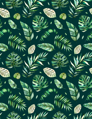 Seamless pattern with high quality hand painted watercolor tropical forest leaves.Tropical collection., Perfect for your project, wedding, greeting card, photos, blogs, wallpaper, pattern, texture and more Stok Fotoğraf - 76708978