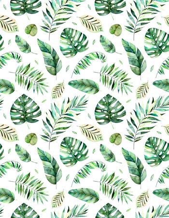 Seamless pattern with high quality hand painted watercolor tropical forest leaves.Tropical collection., Perfect for your project, wedding, greeting card, photos, blogs, wallpaper, pattern, texture and more