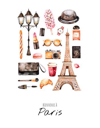水彩のファッションのイラスト。水彩イラスト パリのスタイル。手描きポストカード化粧品、エッフェル塔、コーヒー、カメラ、香水、甘い、バッ