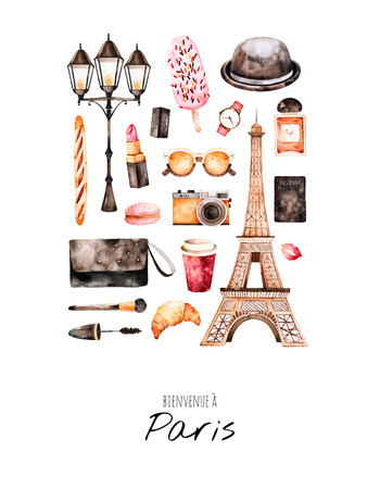 Watercolor fashion illustration. Watercolor illustration Paris style. Handpainted postcard with cosmetics, Eiffel Tower, coffee, camera, perfume, sweet, bag etc.Perfect for you project, invitation, print, blogs