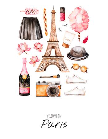 Aquarel mode illustratie. Aquarel illustratie Parijs stijl. Handgeschilderd ansichtkaart met cosmetica, Eiffeltoren, champagne, camera, suikerspin, zoet etc. Perfect voor je project, uitnodiging, print