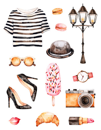 Watercolor fashion illustration. Watercolor illustration Paris style. Handpainted texture with striped top, sunglasses, cosmetics, shoes, ice cream, macaroons, hat.Perfect for you project, wallpaper, print Archivio Fotografico
