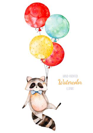 수채화 그림. 여러 가지 빛깔 된 풍선과 함께 귀여운 작은 너구리. 독특한 디자인, 인사말 카드, 블로그, 패턴, 베이비 샤워 파티, 초대장, 아기 카드, 생