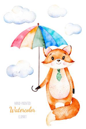 수채화 그림입니다. 여러 가지 빛깔 된 우산과 솜 털 구름과 귀여운 여우. 독특한 디자인, 인사말 카드, 블로그, 패턴, 베이비 샤워 파티, 초대장, 아기  스톡 콘텐츠