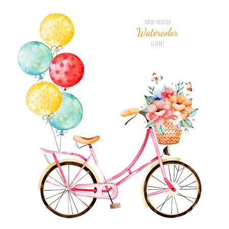 Schöne Blumensammlung. Fahrrad mit Blumenstrauß im Korb und mehrfarbigen Ballonen. Liebenswerte Illustration für Ihr design.Perfect für Hochzeit, Einladungen, Blogs, Schablonenkarte, Geburtstag, Baby-Karten, Muster