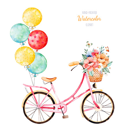 Beautiful floral collection. Bike with bouquet in basket and multicolored balloons.Lovely illustration for your design.Perfect for wedding, invitations, blogs, template card, birthday, baby cards, patterns