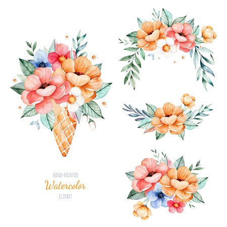 Beautiful floral collection with peony, flowers, leaves, flowers in waffle cone, branches and more.4 lovely bouquets for your design.Perfect for wedding, invitations, blogs, template card, birthday, baby cards Stock Photo