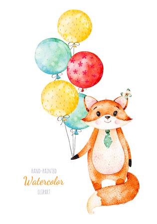 수채화 그림입니다. 여러 가지 빛깔 된 풍선과 함께 귀여운 작은 여우. 독특한 디자인, 인사말 카드, 블로그, 패턴, 베이비 샤워 파티, 초대장, 아기 카