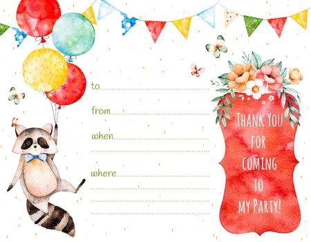 귀여운 너구리, 화 환, 여러 가지 빛깔 풍선, 바구니 flowers와 함께 만든 기성품 된 아름 다운 초대 카드. 그냥 텍스트를 추가합니다. 아름 다운 꽃다발과