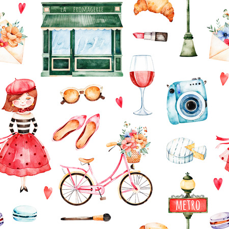 Beautiful seamless pattern with camera, lipstick, hat, bike, girl, red wine, sunglasses, letter, macaroons and much more.Watercolor Paris set.Perfect for wallpaper, print, cover design, invitations