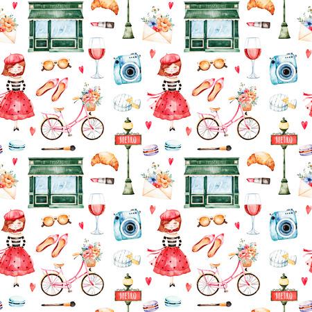 カメラ、口紅、帽子、自転車、女の子、赤ワイン、サングラス、手紙、マカロンと美しいシームレスなパターンおよび大いに多く。水彩のパリに設
