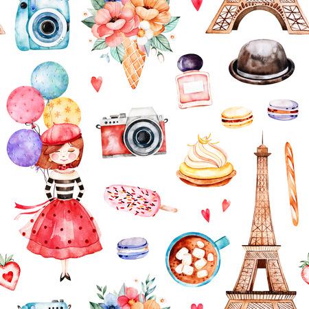 Belo padrão sem emenda com torre Eiffel, câmera, doces, chapéu, buquês, perfume, jovem, balões coloridos e muito mais. Conjunto de Paris em aquarela. Perfeito para papel de parede, impressão, design de capa, convite Foto de archivo - 83924357