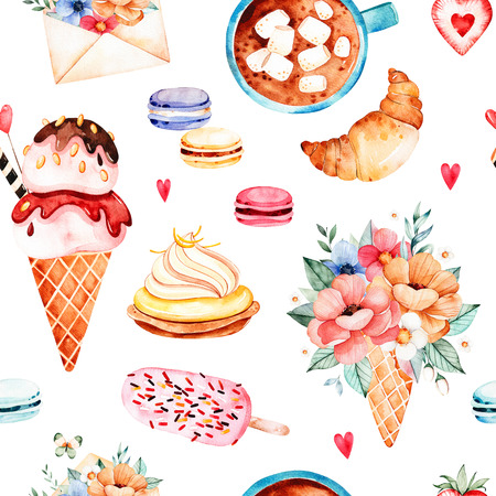 Watercolor sweets background with ice cream, cupcake, croissant, bouquet in waffle horn, multicolored macaroons, strawberry, letter, cup with coffee and marshmallows.Watercloth texture with food and drink