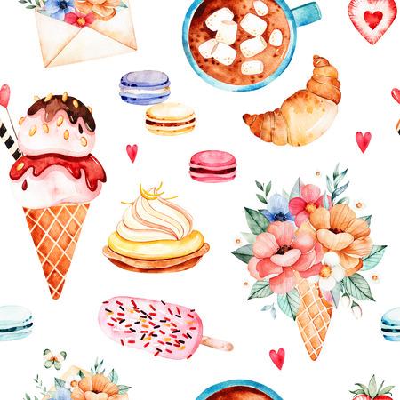 Waterverf snoepjes achtergrond met ijs, cupcake, croissant, boeket in wafelhoorn, veelkleurige macaroons, aardbei, brief, kopje koffie en marshmallows.Watercloth textuur met eten en drinken