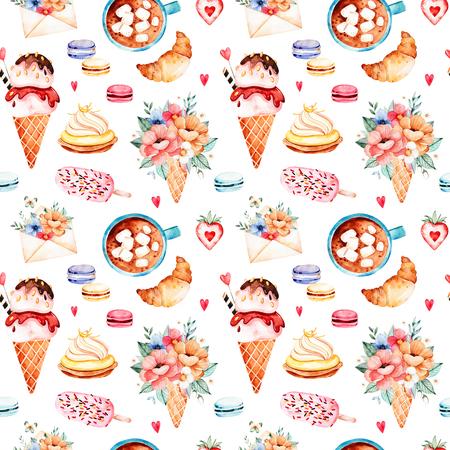 Fond de desserts aux aquarelles avec de la crème glacée, du petit gâteau, du croissant, du bouquet en galle gaufre, des macarons multicolores, de la fraise, de la lettre, de la tasse avec du café et des guimauves.La texture de la torréfaction avec de la nourriture et des boissons Banque d'images - 83924360