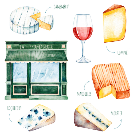 Aquarel smakelijke collectie met verschillende Franse kaas: roquefort, count, camembert, morbier, maroilles, glas wijn etc. Aquarel Franse kaasset. Perfect voor menu, recept, uitnodigingen, menu van het restaurant