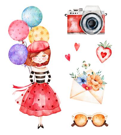 어린 소녀, 여러 가지 빛깔 된 풍선, 카메라, 편지, 꽃, 선글라스, 딸기와 함께 사랑스러운 여름 컬렉션. 아름 다운 파리 set.Perfect 초대장, 템플릿 카드,  스톡 콘텐츠
