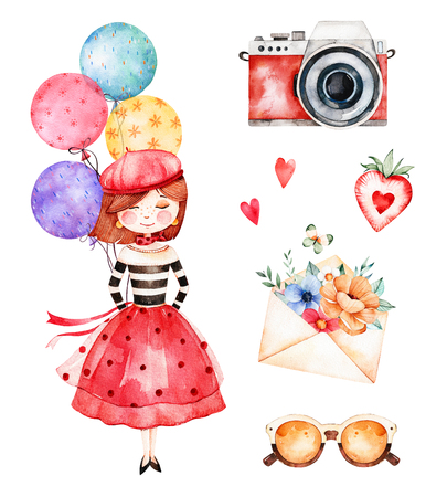 Lovely summer collection with young girl, multicolored balloons, camera, letter, flowers, sunglasses, strawberry.Beautiful Paris set.Perfect for invitations, template cards, birthday card, baby card, wedding