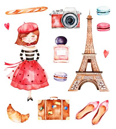 Bonita colección de verano con torre Eiffel, cámara, croissant, zapatos, macarons, baguette, perfume, chica joven, etc. Bonito conjunto de París.Perfecto para invitaciones, tarjetas de plantilla, tarjeta de cumpleaños, tarjeta de bebé, boda Foto de archivo - 83924363