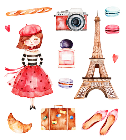 Lovely summer collection with Eiffel tower, camera, croissant, shoes, macaroons, baguette, perfume, young girl etc.Beautiful Paris set.Perfect for invitations, template cards, birthday card, baby card, wedding Stock fotó