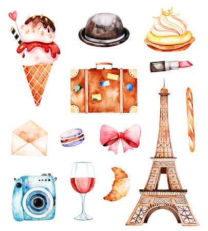 Lovely summer collection with Eiffel tower, hat, croissant ,, letter, macaroon, baguette, wine, camera, cupcake etc.Beautiful Paris set.Perfect for invitations, template cards, birthday card, baby card, wedding Stockfoto