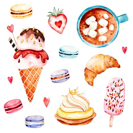 アイスクリーム、カップケーキ、三日月、ワッフル ホーン、色とりどりのマカロン、いちご、手紙、マシュマロとコーヒー カップの花束と水彩お菓 写真素材