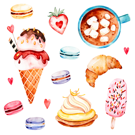 Watercolor sweets collection with ice cream, cupcake, crescent, bouquet in waffle horn, multicolored macaroons, strawberry, letter, cup with coffee and marshmallows.Waterclolor set with food and drink. Imagens