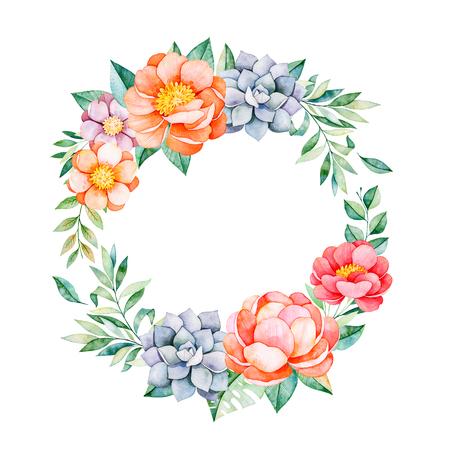 모란, 꽃, 나뭇잎, 나뭇 가지, 즙이 많은 등 사랑스러운 꽃 파스텔 화환. 결혼식, 따옴표, 생일 및 초대장 카드, 인사말 카드, 인쇄물, 블로그, 추수 감사