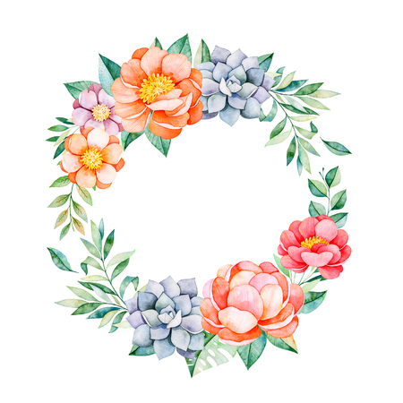 Lovely floral pastel wreath with peony, flowers, leaves, branches, succulent etc.Perfect for wedding, quotes, birthday and invitation cards, greeting cards, print, blogs, thanksgiving cards, logos and more Stok Fotoğraf
