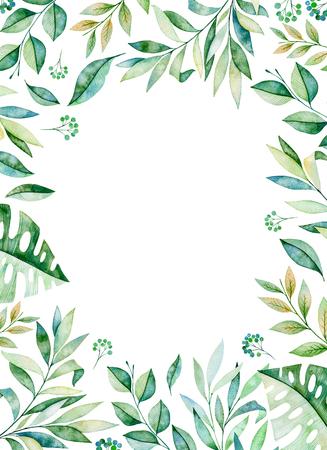 Aquarel frame grens. Textuur met greens, tak, bladeren, tropische bladeren, gebladerte. Perfect voor bruiloft, uitnodigingen, wenskaarten, citaten, patroon, logo's, verjaardagskaarten, belettering enz. Stockfoto