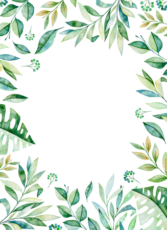 Watercolor frame border.Texture with greens, branch, leaves, tropical leaves, foliage.Perfect for wedding, invitations, greeting cards, quotes, pattern, logos, birthday cards, lettering etc. Foto de archivo