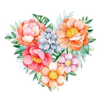 Handbeschilderd aquarel hart met pioenrozen, bloemen, vetplanten, tropische bladeren, tak en bladeren. Aquarel mooie illustratie. Perfect voor uw project, wenskaarten, bruiloft, Valentijnsdag kaart, logo's