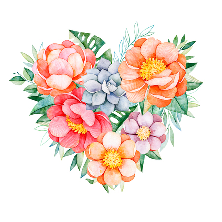 Handpainted watercolor heart with peonies, flowers, succulents, tropical leaves, branch and leaves.Watercolor lovely illustration.Perfect for your project, greeting cards, wedding, Valentines day card, logos Stock Photo