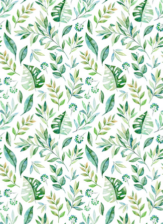 Watercolor leaves branch seamless pattern on white background. Texture with greens, branch, leaves, tropical leaves, foliage.Perfect for wedding, cover design, wallpapers, patterns, packaging etc.