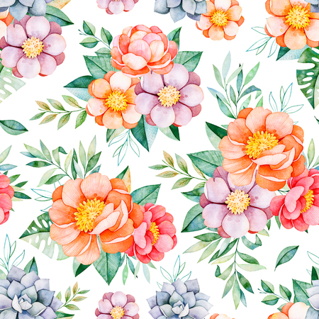 Handpainted watercolor seamless pattern with peonies, flowers, succulent, tropical leaves, branch and leaves.Lovely texure.Perfect for your project, wedding, packaging, wallpaper, pattern, cover desig