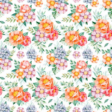 手描き水彩シームレスなパターン牡丹、花、多肉植物、トロピカル葉、枝と葉します。素敵なテクスチャ。完璧な結婚式、包装、壁紙、パターン、
