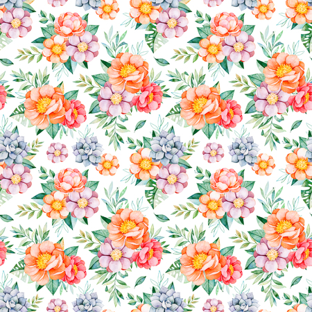 Handpainted watercolor seamless pattern with peonies, flowers, succulent, tropical leaves, branch and leaves.Lovely texure.Perfect for your project, wedding, packaging, wallpaper, pattern, cover design etc.