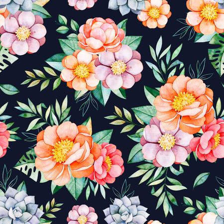 Handpainted watercolor seamless pattern with peonies, flower, succulents, tropical leaves, branch on dark background.Lovely texure.Perfect for your project, wedding, packaging, wallpaper, pattern, cover design