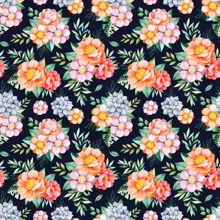 모란, 꽃, succulents, 열 대 나뭇잎, 어두운 배경에 지점 Handpainted 수채화 원활한 패턴. 당신의 프로젝트, 결혼식, 포장, 벽지, 패턴, 커버 디자인에 대 한