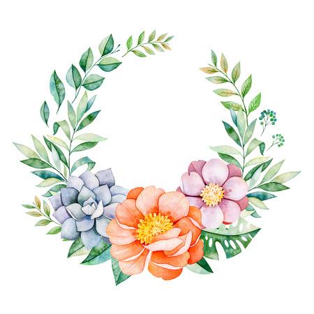 牡丹、花、葉と素敵な花柄パステル花輪、熱帯の葉、枝、多肉植物など。完璧な結婚式、引用符で、誕生日の招待状カード、グリーティング カード