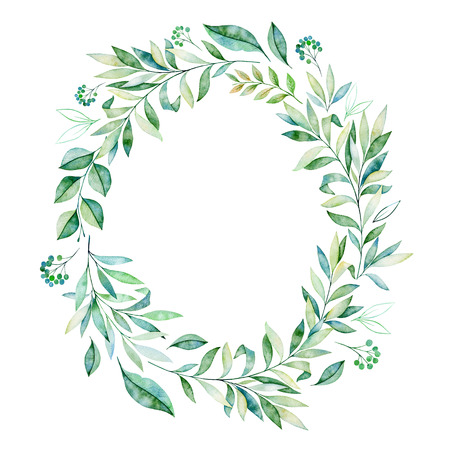 Watercolor leaves branch wreath. Wteath with greens, branch, leaves, foliage.Perfect for wedding, quotes, birthday and invitation cards, greeting cards, print, blogs, thanksgiving cards, logos and more Reklamní fotografie