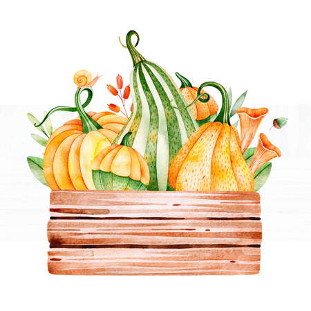 Bright autumn illustration with fall leaves, branches, berries, mushrooms, pumpkins, wooden basketball, snail and more. Perfect for greeting card, menu, blogs, graphic projects, patterns, logo, wedding etc.