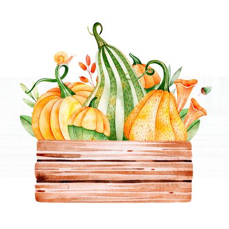 Heldere herfst illustratie met herfstbladeren, takken, bessen, champignons, pompoenen, houten basketbal, slak en meer. Perfect voor wenskaart, menu, blogs, grafische projecten, patronen, logo, bruiloft etc.