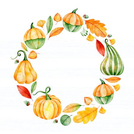 秋の葉、枝、果実、カボチャ、ドングリ等と明るい秋の花輪。私の素敵な秋のコレクションです。結婚式、フレーム、引用符、パターン、グリーテ