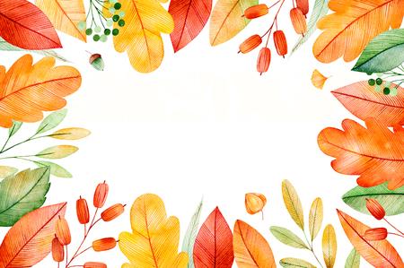 明るい秋のカラフルな秋フレームを残します。私の素敵な秋のコレクションです。結婚式、フレーム、引用符、パターン、グリーティング カード、