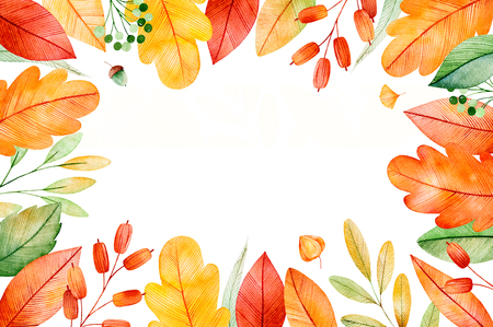 Colorful autumn frame with bright fall leaves. My Lovely Autumn collection.Perfect for wedding, frame, quotes, pattern, greeting card, logo, invitations, lettering etc 版權商用圖片