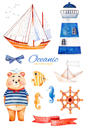 Nautical watercolor set. Ocean creature with cute bear, lighthouse, reef fishe, seahorse, ribbon and bow, sailboat etc.Perfect for invitations, party decorations, printable, craft project, greeting cards, blogs